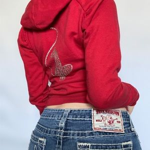 Baby Phat Y2K Rhinestone Red Zip-Up Hoodie